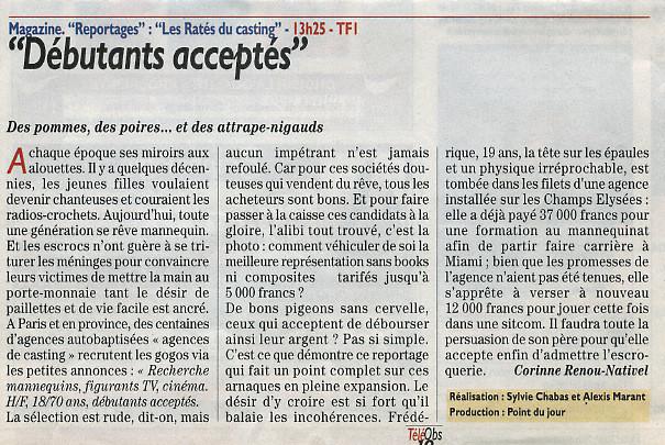 Debutants-acceptes-Presse-tele-obs Sylvie-Chabas-realisatrice-Paris
