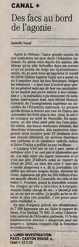 Presse-Fac-carton-rouge-France Soir-Sylvie-Chabas-realisatrice-Paris